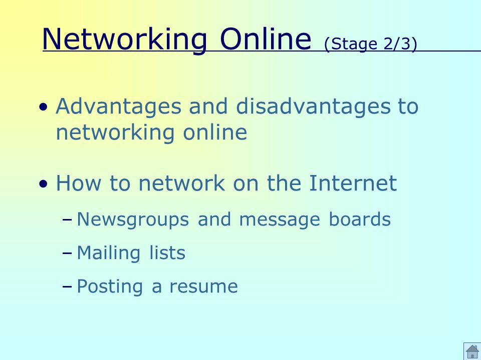 Networking Online (Stage 2/3) Advantages and disadvantages to networking online How to network on the Internet –Newsgroups and message boards –Mailing lists –Posting a resume