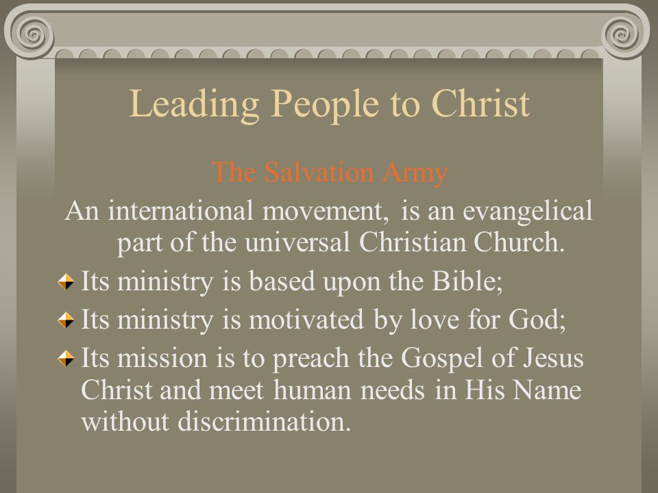 Leading People to Christ DISCIPLING Even at the time of the decision you may feel that more counseling is needed immediately Find a quiet place where this can take place