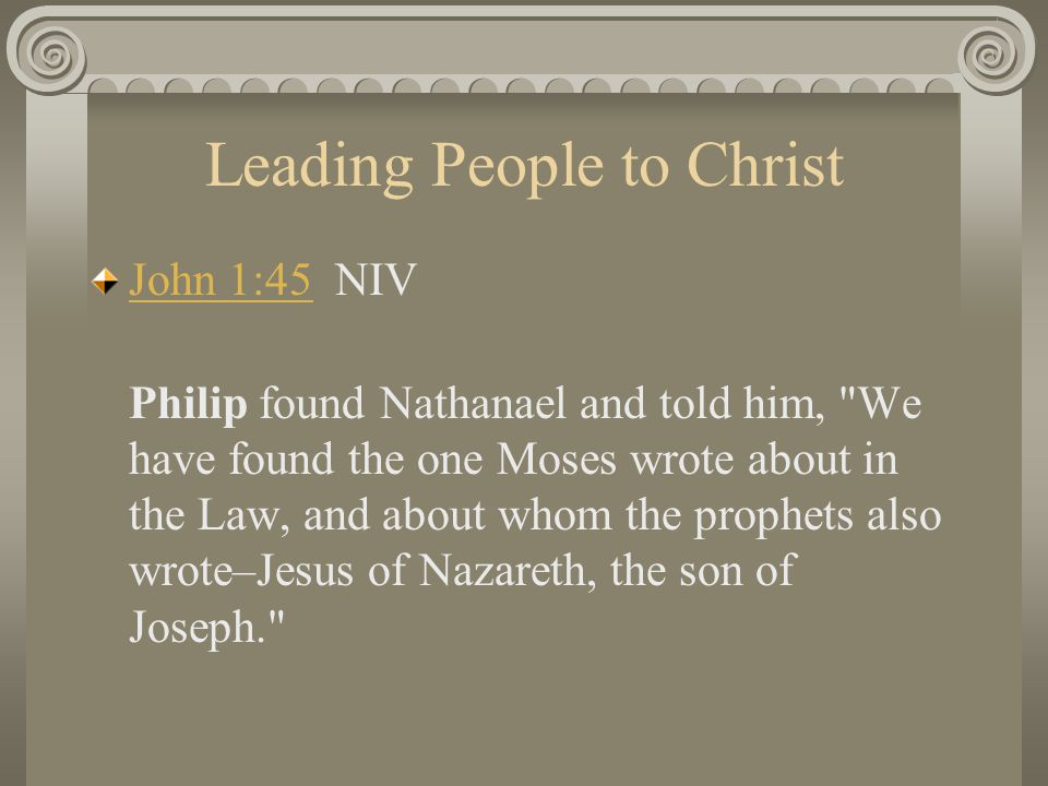 Leading People to Christ John 1:45John 1:45 NIV Philip found Nathanael and told him,