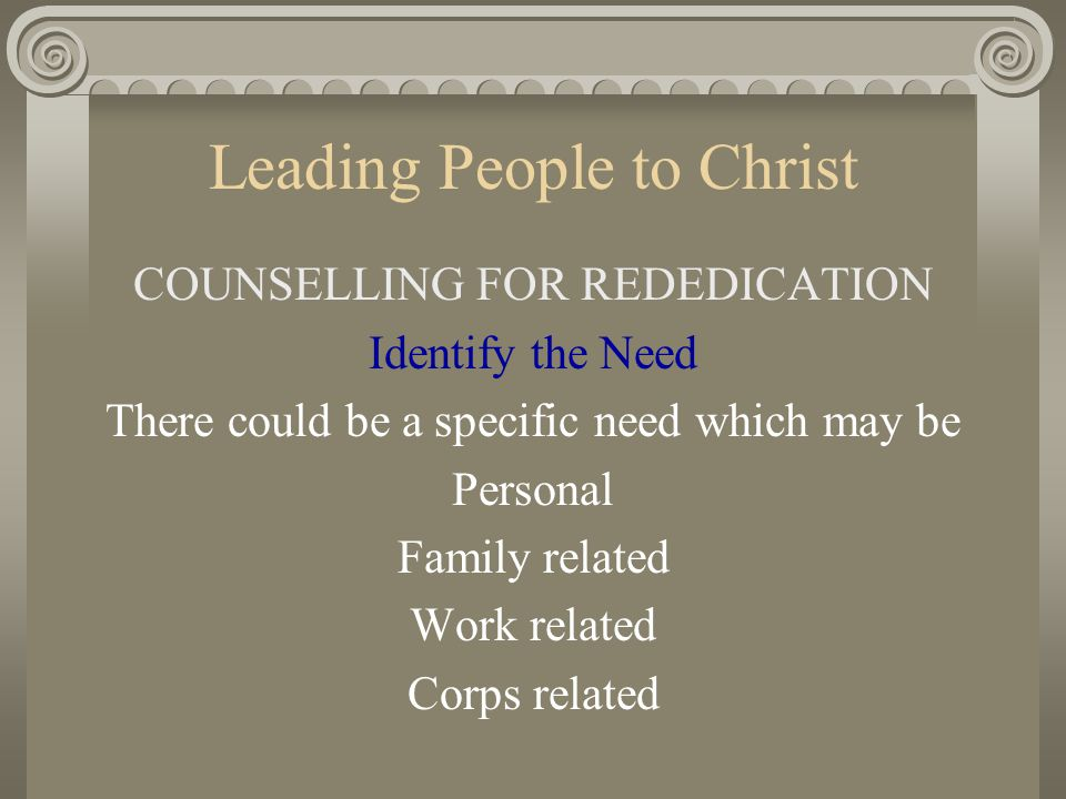 Leading People to Christ COUNSELLING FOR REDEDICATION Identify the Need There could be a specific need which may be Personal Family related Work relat