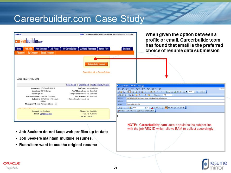 Careerbuilder.com Case Study 21 When given the option between a profile or email, Careerbuilder.com has found that email is the preferred choice of resume data submission  Job Seekers do not keep web profiles up to date.