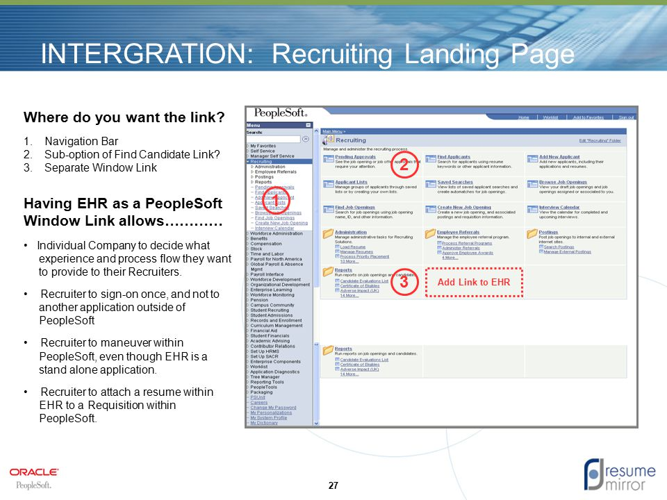 27 INTERGRATION: Recruiting Landing Page Add Link to EHR Where do you want the link.