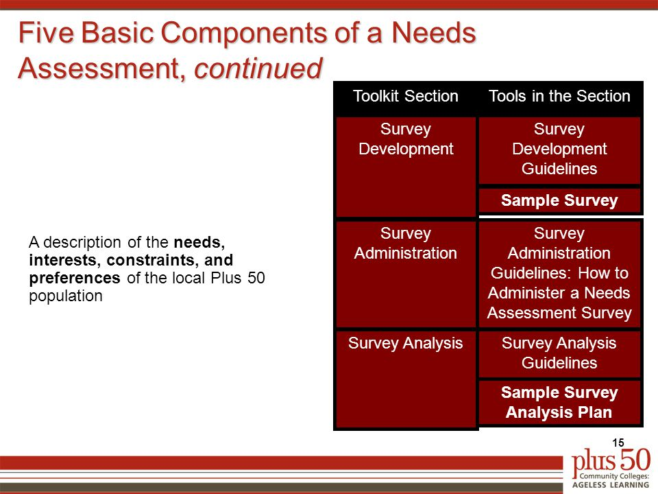Five Basic Components of a Needs Assessment, continued 15 A description of the needs, interests, constraints, and preferences of the local Plus 50 population Survey Development Guidelines Survey Development Survey Administration Survey Analysis Sample Survey Survey Administration Guidelines: How to Administer a Needs Assessment Survey Survey Analysis Guidelines Sample Survey Analysis Plan Tools in the SectionToolkit Section
