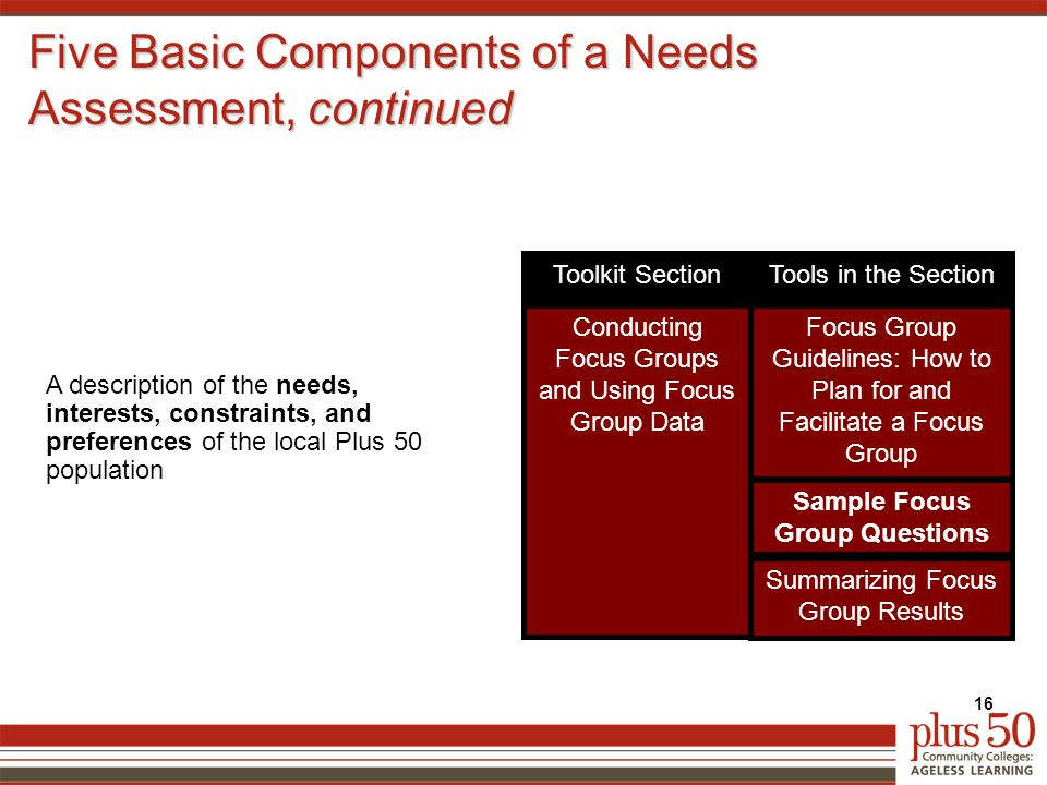 Five Basic Components of a Needs Assessment, continued 16 A description of the needs, interests, constraints, and preferences of the local Plus 50 population Focus Group Guidelines: How to Plan for and Facilitate a Focus Group Conducting Focus Groups and Using Focus Group Data Sample Focus Group Questions Tools in the SectionToolkit Section Summarizing Focus Group Results