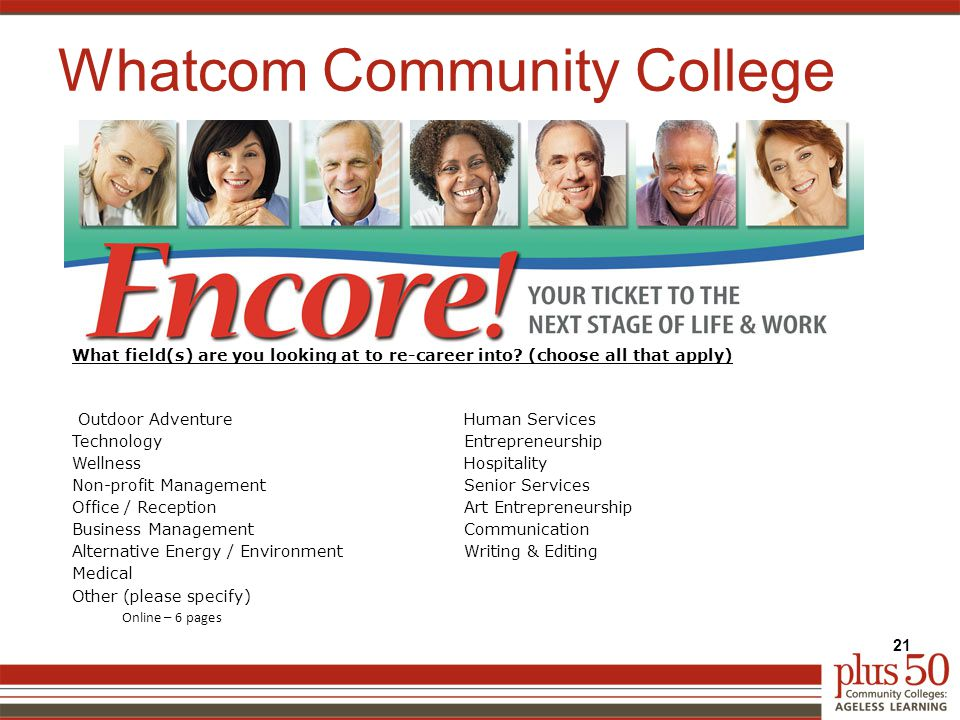 Whatcom Community College 21 What field(s) are you looking at to re-career into.