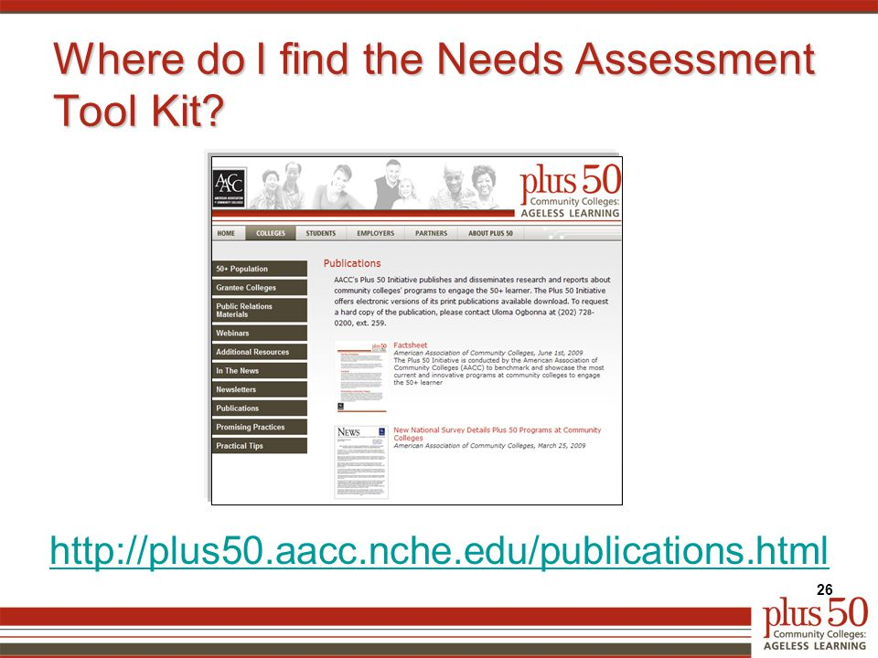 http://plus50.aacc.nche.edu/publications.html Where do I find the Needs Assessment Tool Kit? 26