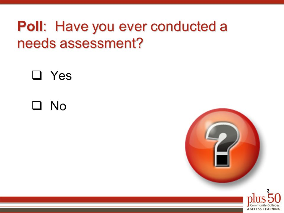 Poll: Have you ever conducted a needs assessment  Yes  No 3