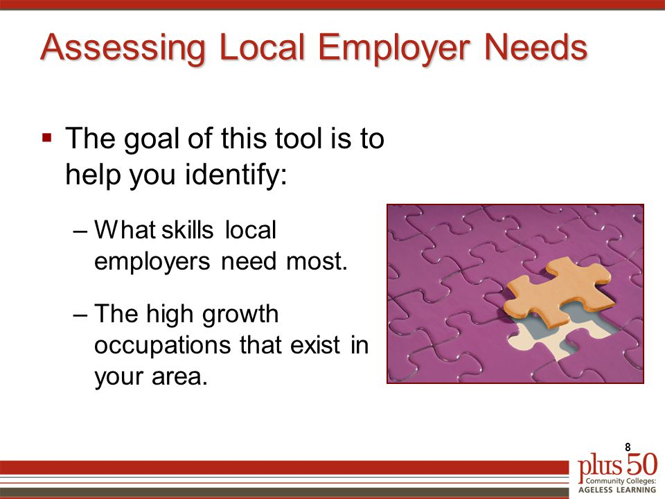 Assessing Local Employer Needs  The goal of this tool is to help you identify: –What skills local employers need most.