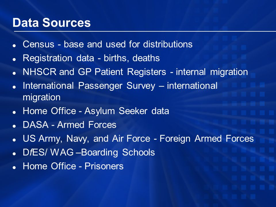 Data Sources l Census - base and used for distributions l Registration data - births, deaths l NHSCR and GP Patient Registers - internal migration l International Passenger Survey – international migration l Home Office - Asylum Seeker data l DASA - Armed Forces l US Army, Navy, and Air Force - Foreign Armed Forces l DfES/ WAG –Boarding Schools l Home Office - Prisoners
