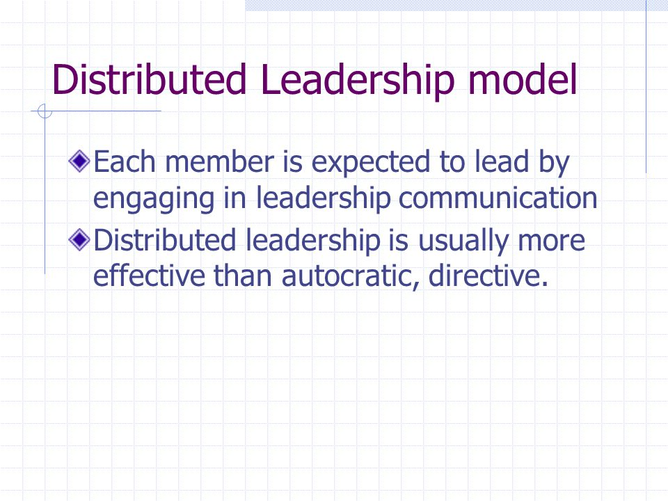 Distributed Leadership model Each member is expected to lead by engaging in leadership communication Distributed leadership is usually more effective