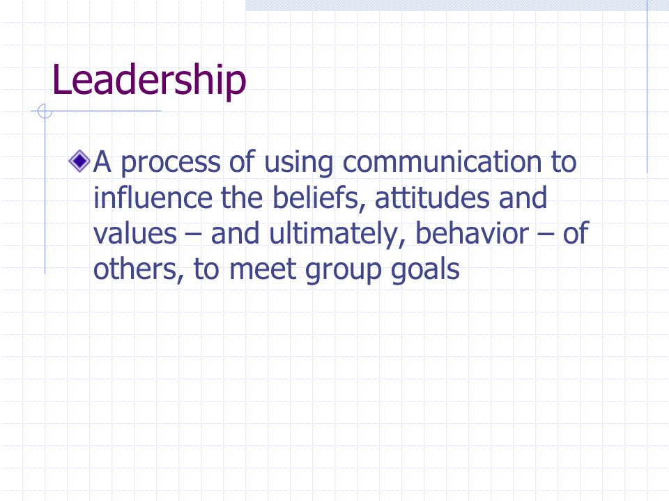 Leadership A process of using communication to influence the beliefs, attitudes and values – and ultimately, behavior – of others, to meet group goals