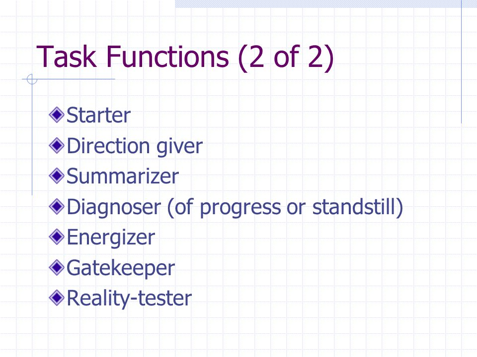 Task Functions (2 of 2) Starter Direction giver Summarizer Diagnoser (of progress or standstill) Energizer Gatekeeper Reality-tester