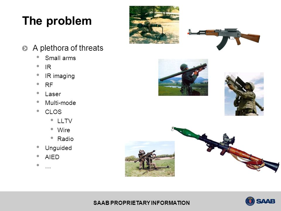 SAAB PROPRIETARY INFORMATION Known threats MANPADS (SA-7, SA-14, SA-16, SA-18, Stinger, Mistral, HN-5, FN-6) IR AAM (AIM-9, AIM-132, IRIS-T, AA-8, AA-11) IR SAM (SA-9, SA-13) RF AAM (AIM-7, AIM-120, AA-9, AA-12) RF SAM (Command typ, SA-2, SA-3, SA-4, SA-5, SA-6, SA-8, SA-10, SA-15) IR/RF AAM (also IR/SARH Semi Active Radar Homing, AA-2, AA-6, AA-7, AA-10 CLOS (LLTV, Wire (RBS56, Bill), Radar (RBS23, Bamse), Radio Beam riders (RBS70/90, Starstreak) AT/RPG (AT4, Carl Gustav, RPG-7)