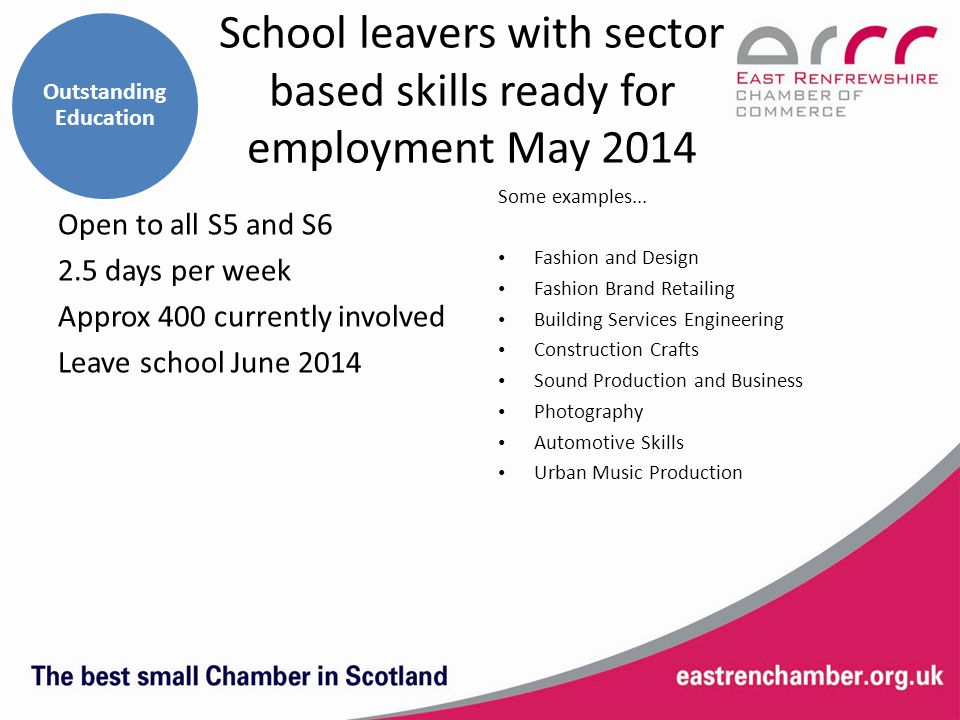 School leavers with sector based skills ready for employment May 2014 Some examples...