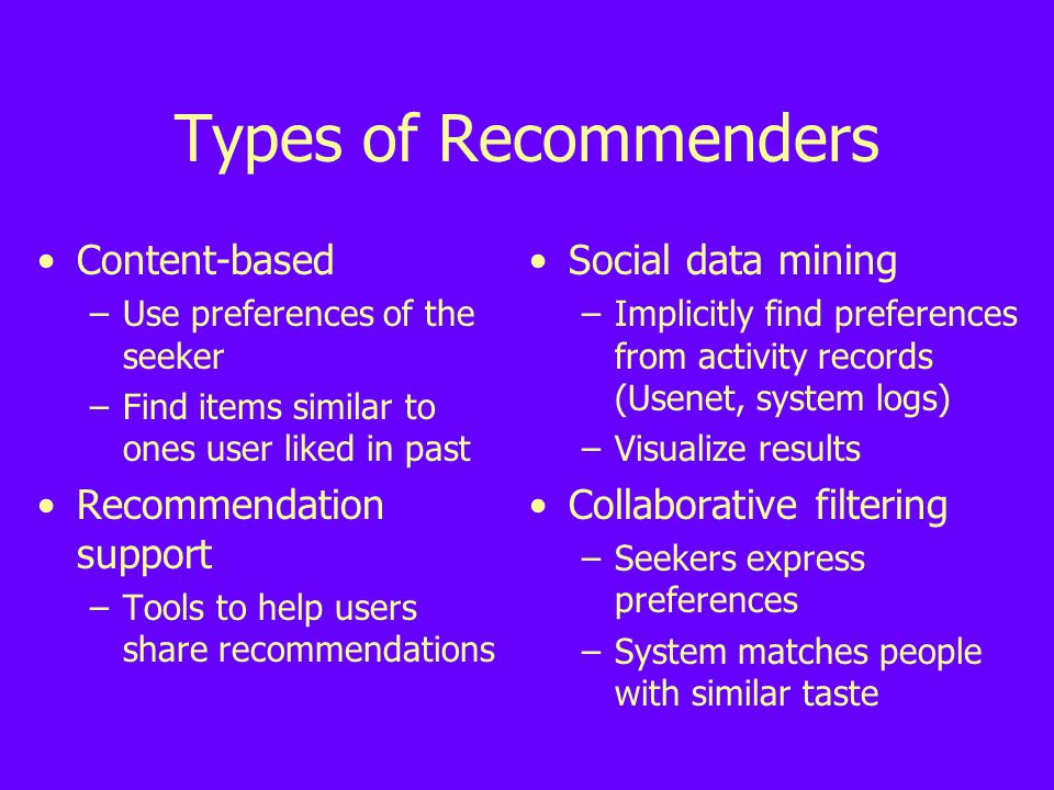 Types of Recommenders Content-based –Use preferences of the seeker –Find items similar to ones user liked in past Recommendation support –Tools to help users share recommendations Social data mining –Implicitly find preferences from activity records (Usenet, system logs) –Visualize results Collaborative filtering –Seekers express preferences –System matches people with similar taste