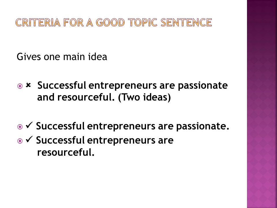 Gives one main idea   Successful entrepreneurs are passionate and resourceful.