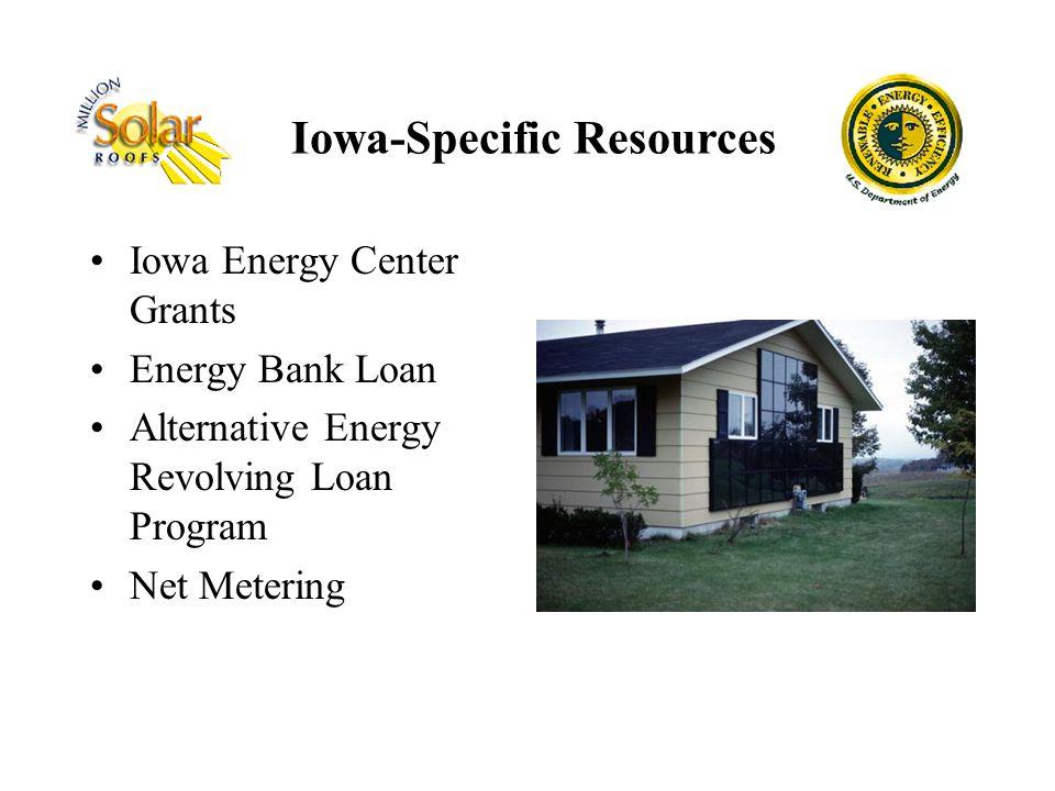 Iowa Energy Center Grants Energy Bank Loan Alternative Energy Revolving Loan Program Net Metering Iowa-Specific Resources
