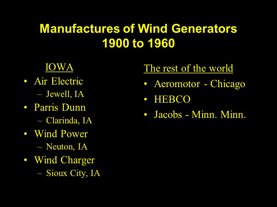 Manufactures of Wind Generators 1900 to 1960 IOWA Air Electric –Jewell, IA Parris Dunn –Clarinda, IA Wind Power –Neuton, IA Wind Charger –Sioux City,