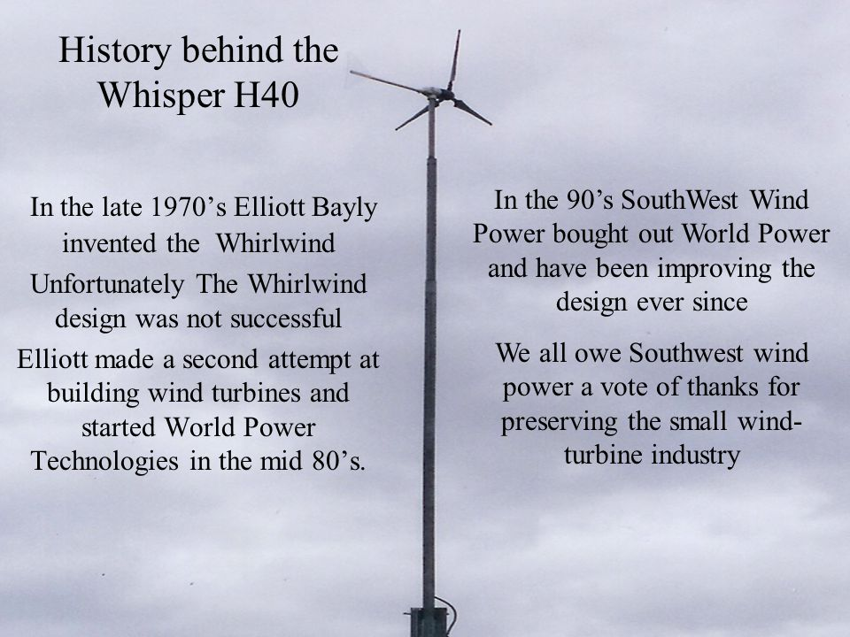 History behind the Whisper H40 In the late 1970's Elliott Bayly invented the Whirlwind Unfortunately The Whirlwind design was not successful Elliott m