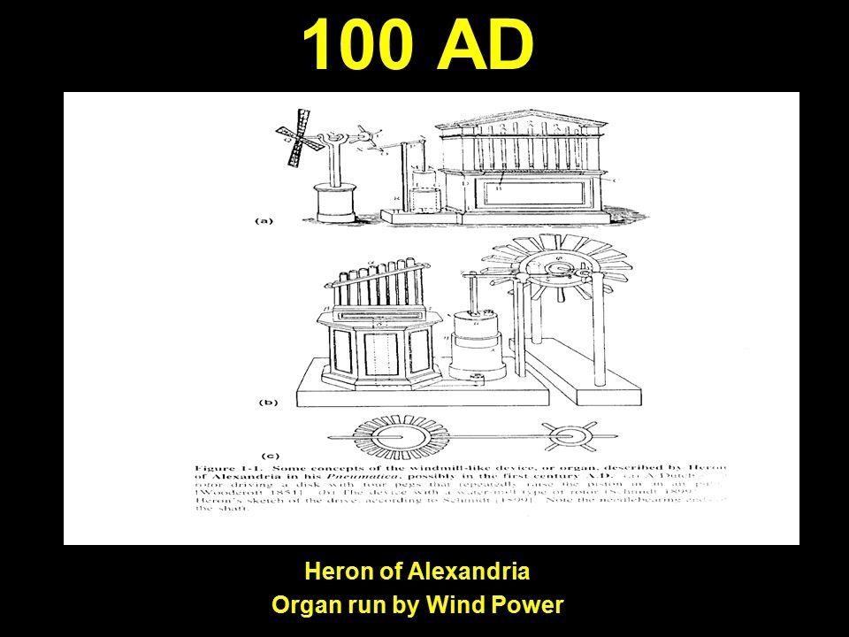 100 AD Heron of Alexandria Organ run by Wind Power