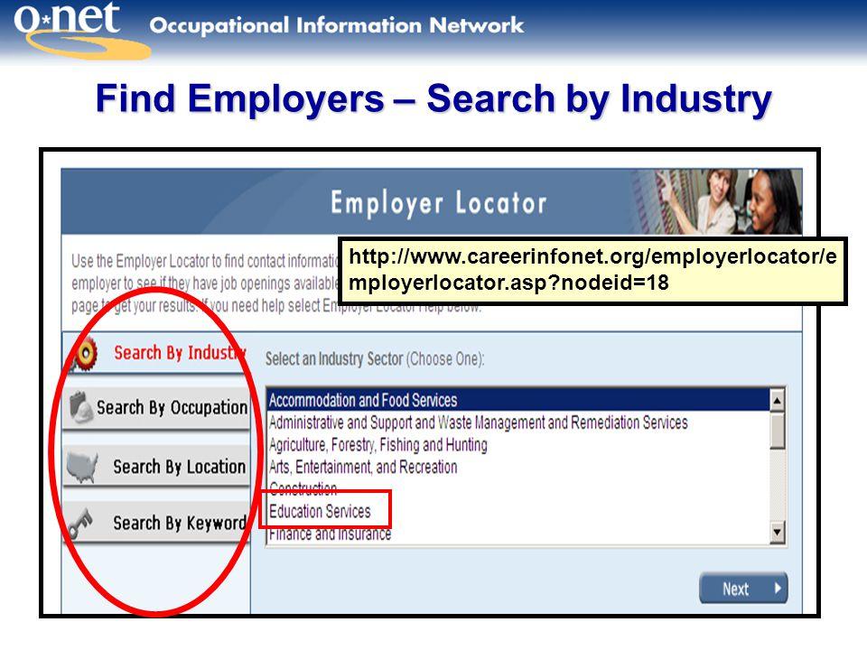 22 Find Employers – Search by Industry http://www.careerinfonet.org/employerlocator/e mployerlocator.asp?nodeid=18