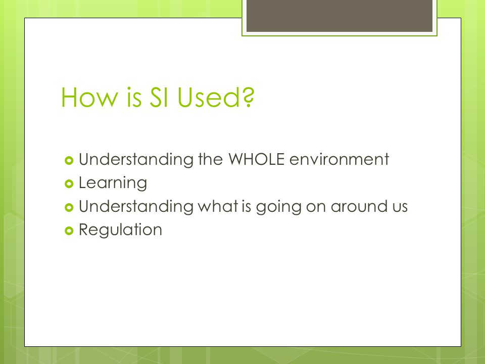 How is SI Used?  Understanding the WHOLE environment  Learning  Understanding what is going on around us  Regulation