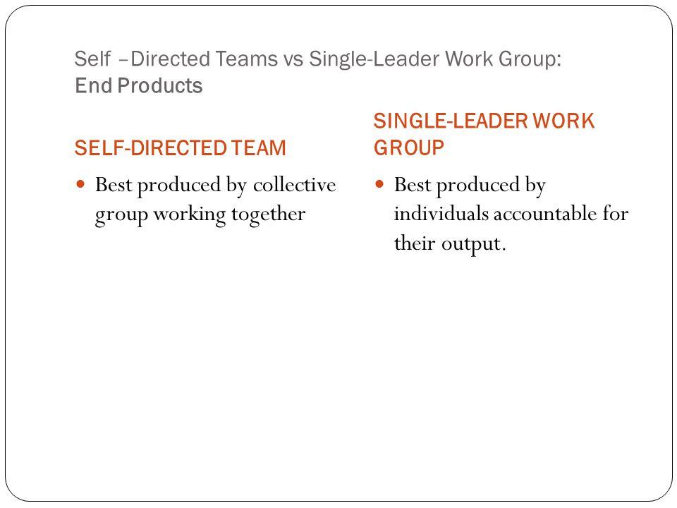 Self –Directed Teams vs Single-Leader Work Group: End Products SELF-DIRECTED TEAM SINGLE-LEADER WORK GROUP Best produced by collective group working t