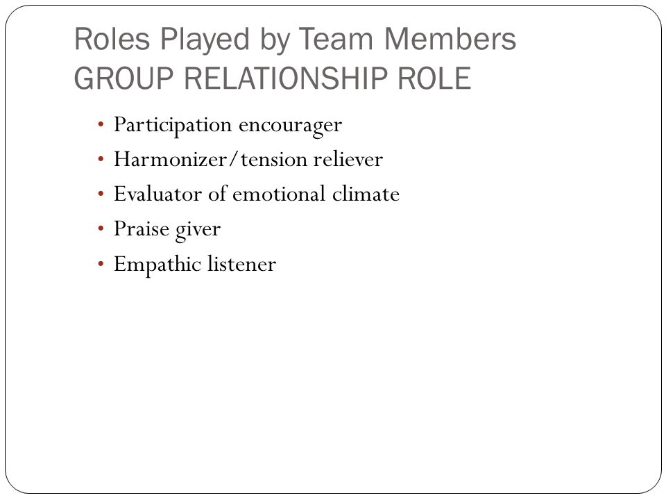 Roles Played by Team Members GROUP RELATIONSHIP ROLE Participation encourager Harmonizer/tension reliever Evaluator of emotional climate Praise giver