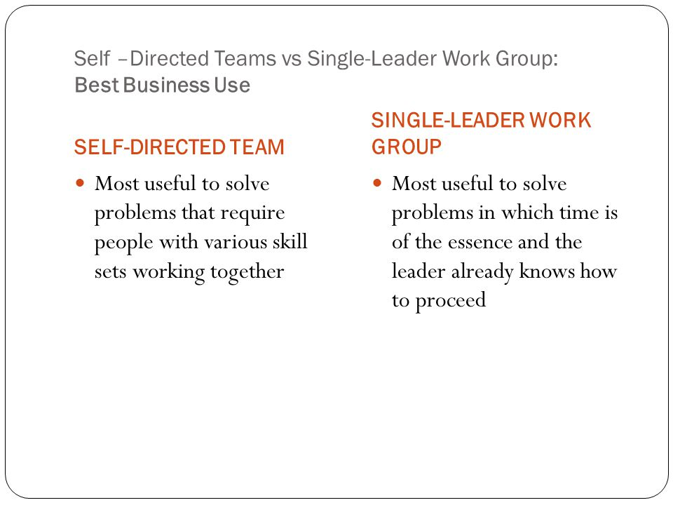 Self –Directed Teams vs Single-Leader Work Group: Best Business Use SELF-DIRECTED TEAM SINGLE-LEADER WORK GROUP Most useful to solve problems that require people with various skill sets working together Most useful to solve problems in which time is of the essence and the leader already knows how to proceed