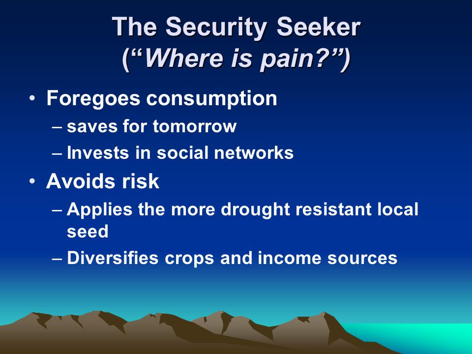 The Security Seeker ( Where is pain ) Foregoes consumption –saves for tomorrow –Invests in social networks Avoids risk –Applies the more drought resistant local seed –Diversifies crops and income sources