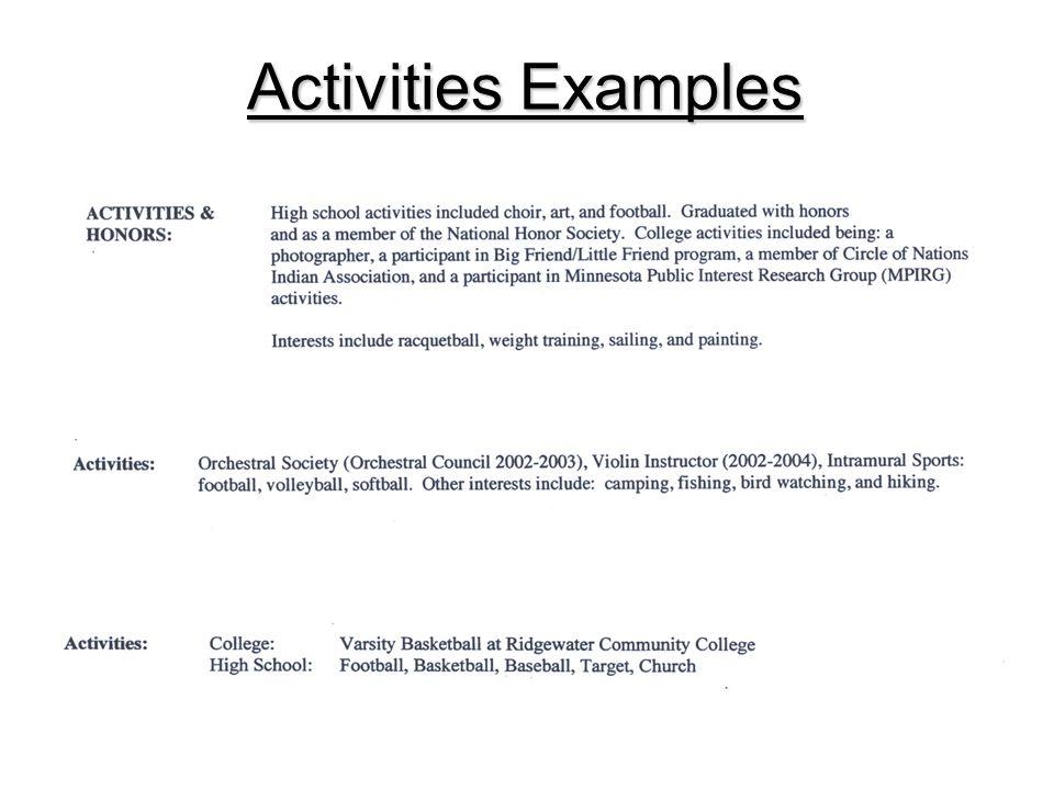 Activities Examples