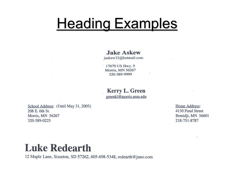 Heading Examples