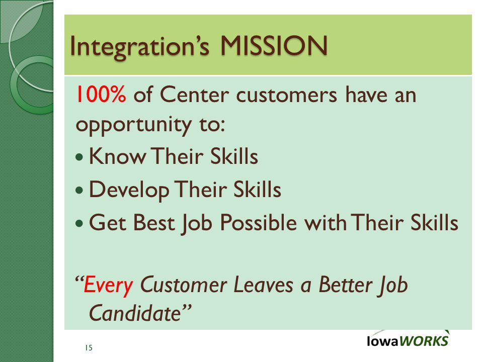 Integration's MISSION 100% of Center customers have an opportunity to: Know Their Skills Develop Their Skills Get Best Job Possible with Their Skills Every Customer Leaves a Better Job Candidate 15