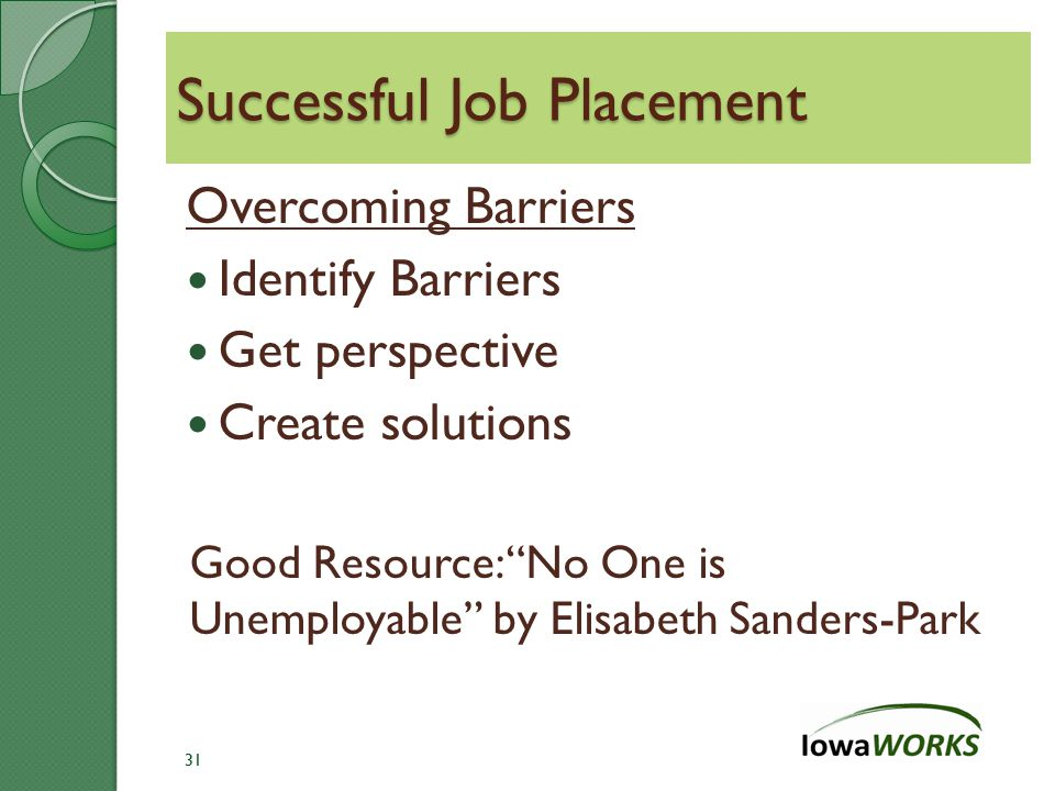 Successful Job Placement Overcoming Barriers Identify Barriers Get perspective Create solutions Good Resource: No One is Unemployable by Elisabeth Sanders-Park 31