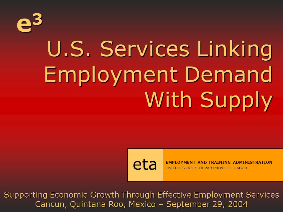 U.S. Services Linking Employment Demand With Supply U.S.