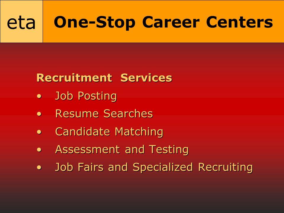 eta One-Stop Career Centers Recruitment Services Job PostingJob Posting Resume SearchesResume Searches Candidate MatchingCandidate Matching Assessment and TestingAssessment and Testing Job Fairs and Specialized RecruitingJob Fairs and Specialized Recruiting