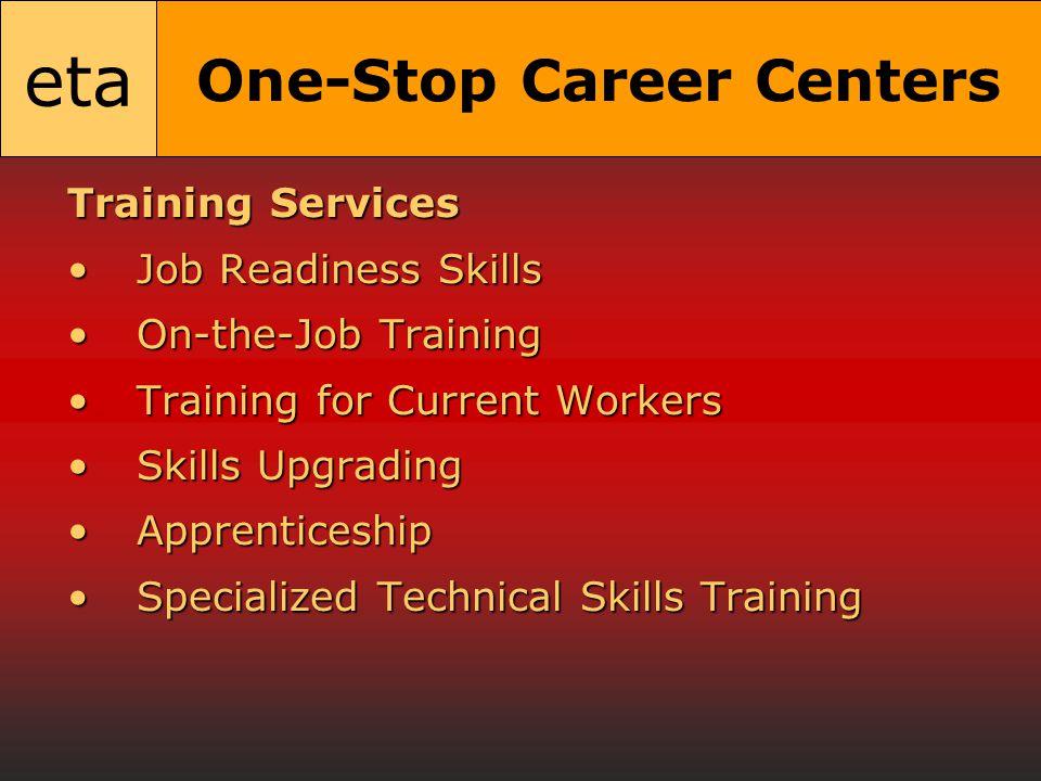eta One-Stop Career Centers Training Services Job Readiness SkillsJob Readiness Skills On-the-Job TrainingOn-the-Job Training Training for Current WorkersTraining for Current Workers Skills UpgradingSkills Upgrading ApprenticeshipApprenticeship Specialized Technical Skills TrainingSpecialized Technical Skills Training