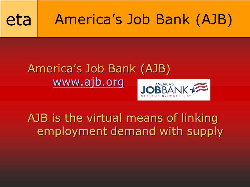 eta America's Job Bank (AJB) America's Job Bank (AJB) www.ajb.org www.ajb.org AJB is the virtual means of linking employment demand with supply