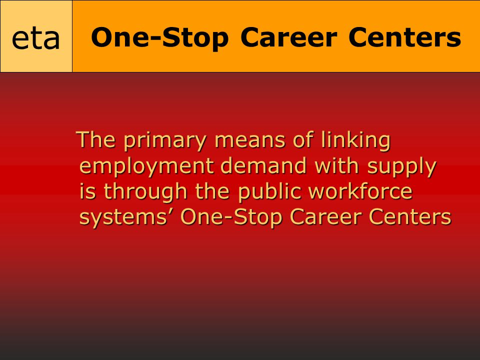 eta One-Stop Career Centers The primary means of linking employment demand with supply is through the public workforce systems' One-Stop Career Centers The primary means of linking employment demand with supply is through the public workforce systems' One-Stop Career Centers