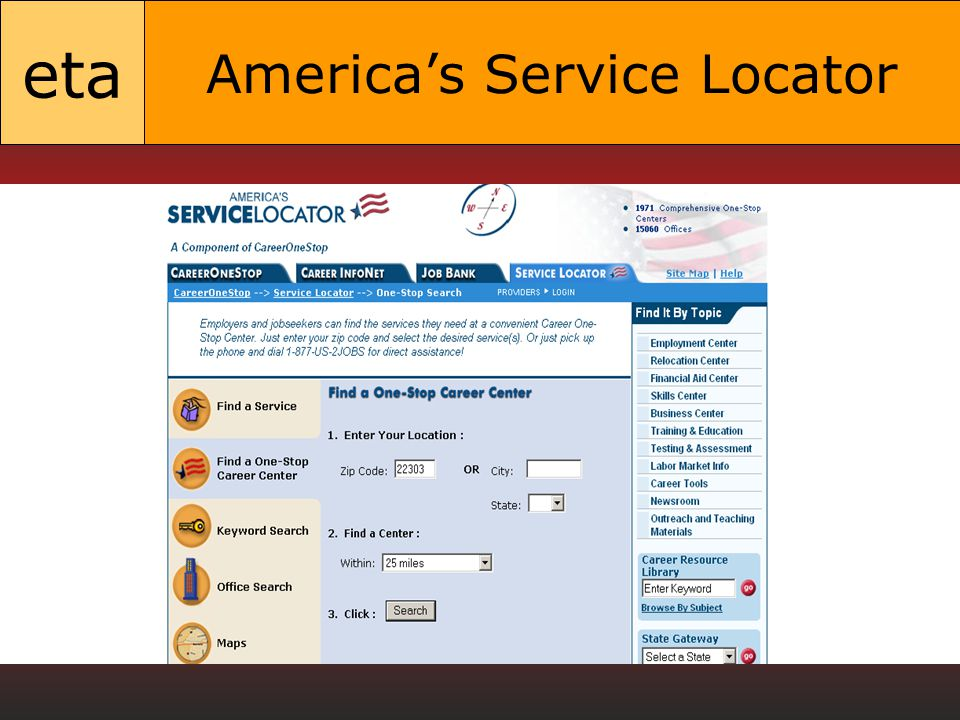 eta America's Service Locator
