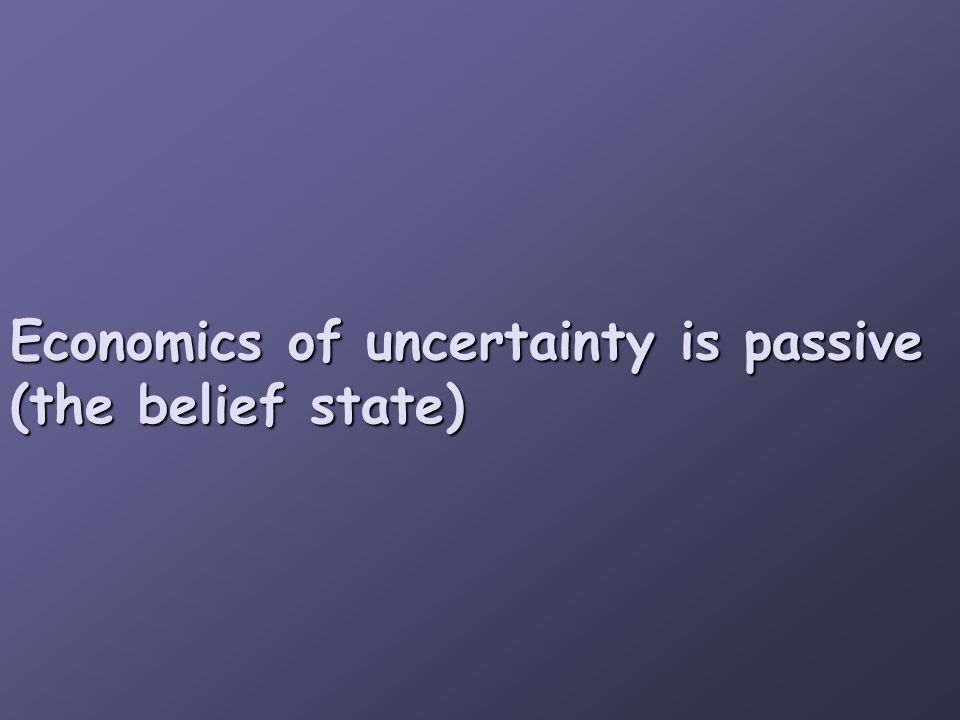 Economics of uncertainty is passive (the belief state)