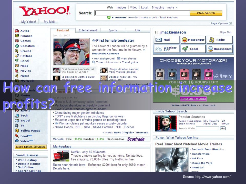 How can free information increase profits Source: http://www.yahoo.com/