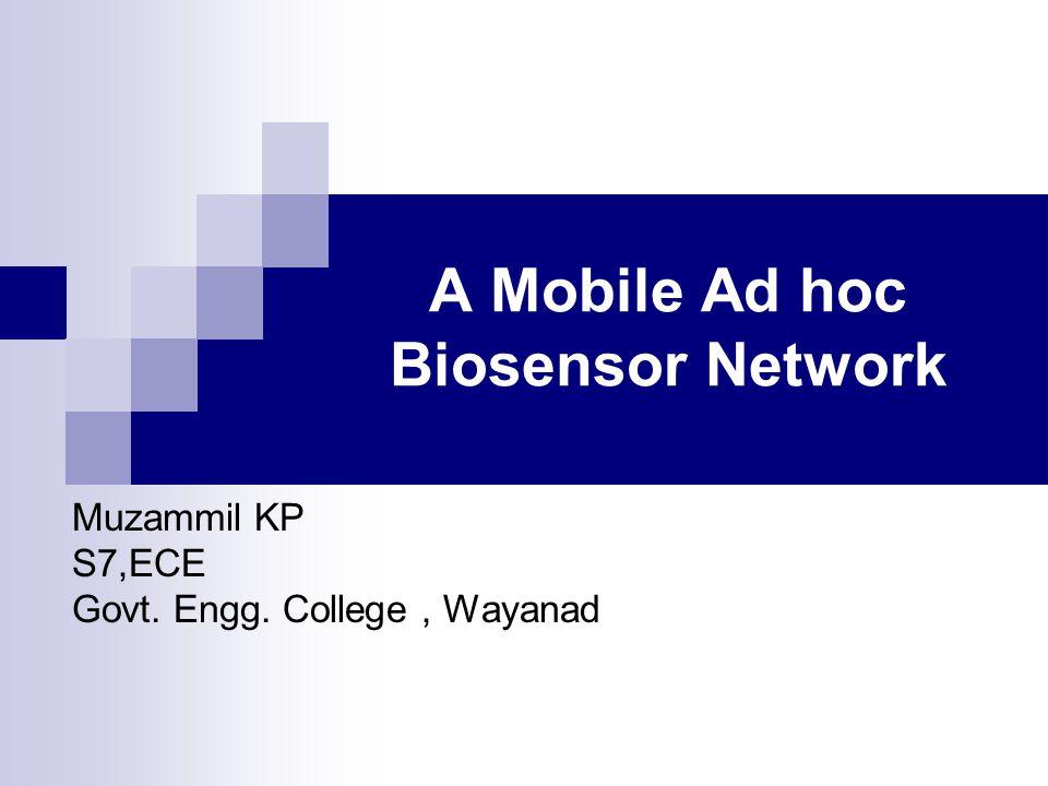 A Mobile Ad hoc Biosensor Network Muzammil KP S7,ECE Govt. Engg. College, Wayanad