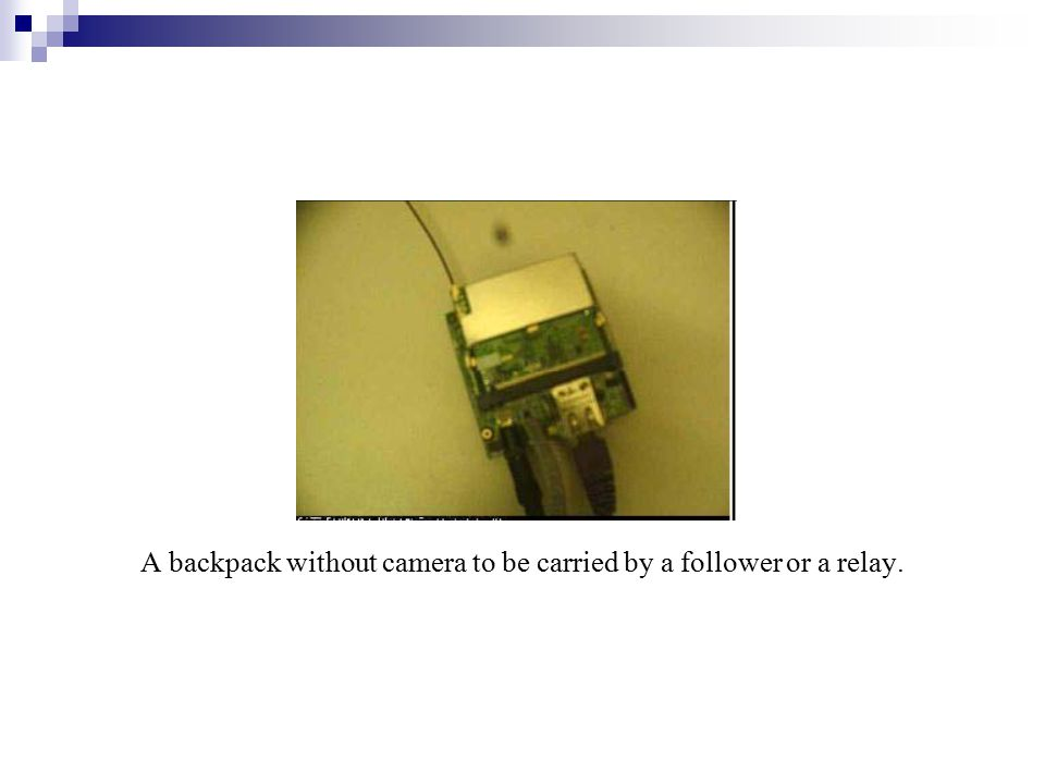 A backpack without camera to be carried by a follower or a relay.