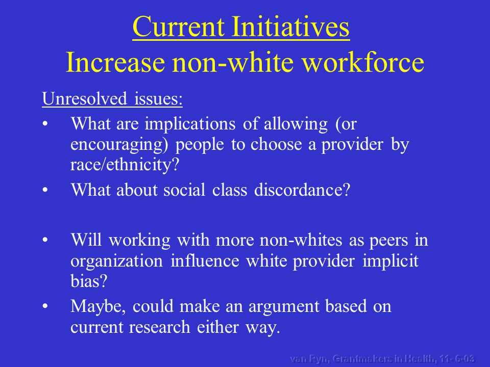 Unresolved issues: What are implications of allowing (or encouraging) people to choose a provider by race/ethnicity.