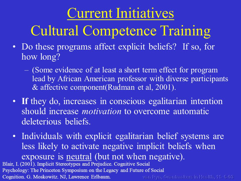Do these programs affect explicit beliefs? If so, for how long? –(Some evidence of at least a short term effect for program lead by African American p