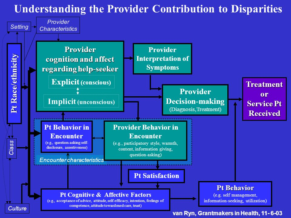 Treatmentor Service Pt Received Provider Decision-making (Diagnosis,Treatment) Provider Interpretation of Symptoms Provider cognition and affect regarding help-seeker Provider Characteristics Setting Pt Race/ethnicity Class Culture Pt Cognitive & Affective Factors (e.g., acceptance of advice, attitude, self-efficacy, intention, feelings of competence, attitude toward med care, trust) Pt Behavior in Encounter (e.g., question-asking self- disclosure, assertiveness) Pt Satisfaction Pt Behavior (e.g.