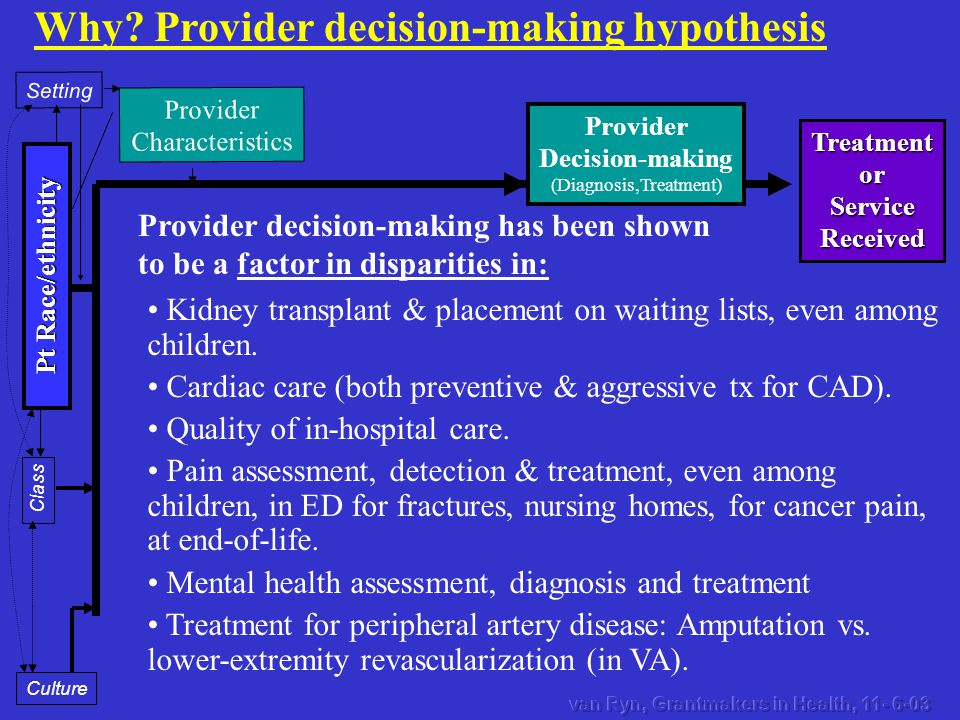 TreatmentorServiceReceived Provider Characteristics Setting Pt Race/ethnicity Class Culture Why? Provider decision-making hypothesis Kidney transplant