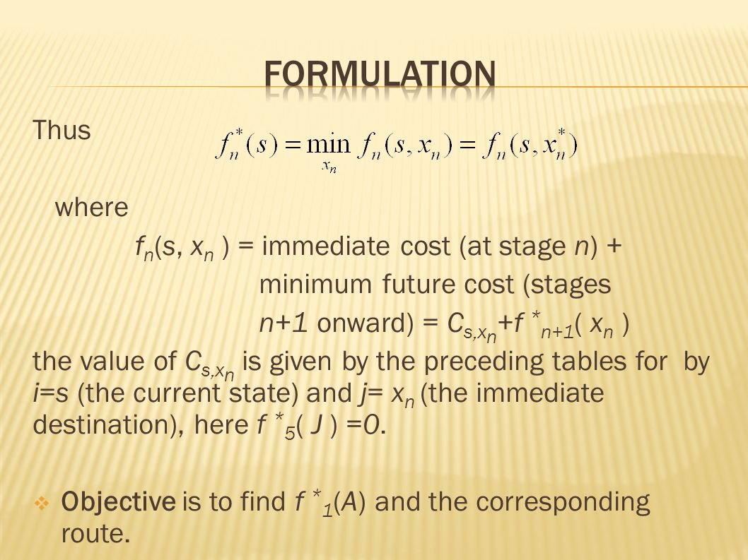 Thus where f n (s, x n ) = immediate cost (at stage n) + minimum future cost (stages n+1 onward) = C s,x n +f * n+1 ( x n ) the value of C s,x n is given by the preceding tables for by i=s (the current state) and j= x n (the immediate destination), here f * 5 ( J ) =0.