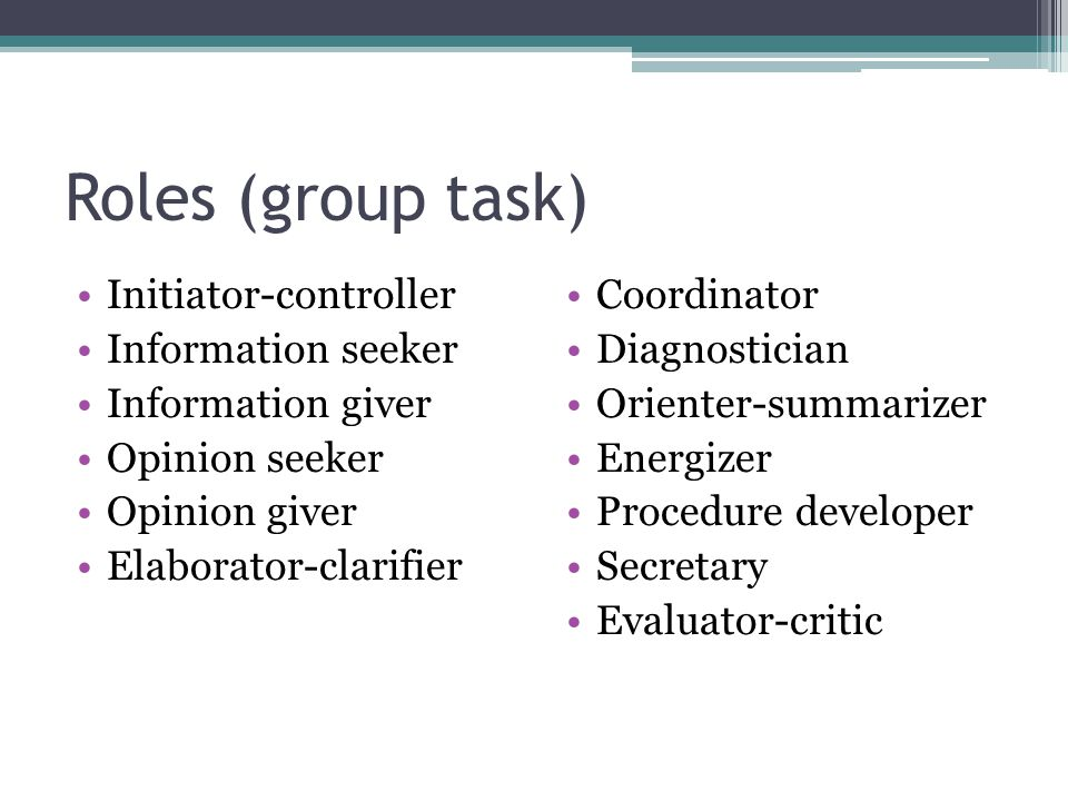 Roles (group task) Initiator-controller Information seeker Information giver Opinion seeker Opinion giver Elaborator-clarifier Coordinator Diagnostician Orienter-summarizer Energizer Procedure developer Secretary Evaluator-critic